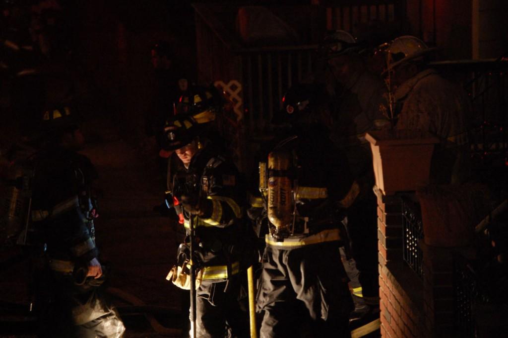 Fire at 4 Larkin Road, Medford, around 10 p.m. Friday, Feb. 28, 2014. (Greg Cook)