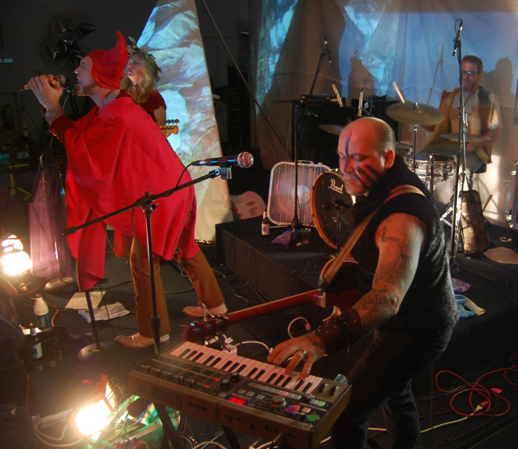 "Gondoliers perform at ""Map of Monsters"" at Once, Somerville, Oct. 17, 2014. (@Greg Cook)"
