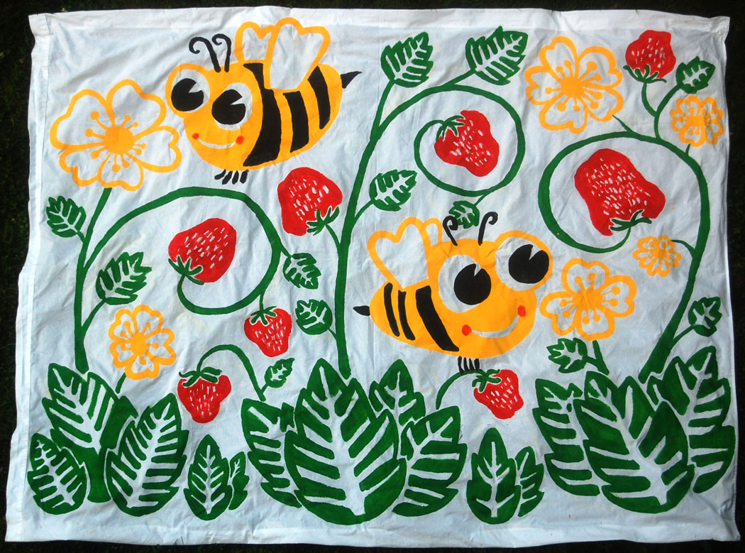 """Strawberries"" by Greg Cook, house paint on bed sheet, July 3, 2015."