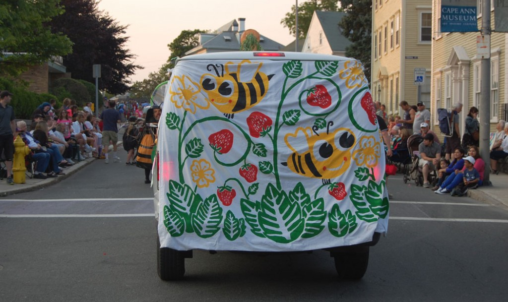 Backyard Growers and Cape Ann Farmers' Market group in the Gloucester Horribles Parade on July 3, 2015.