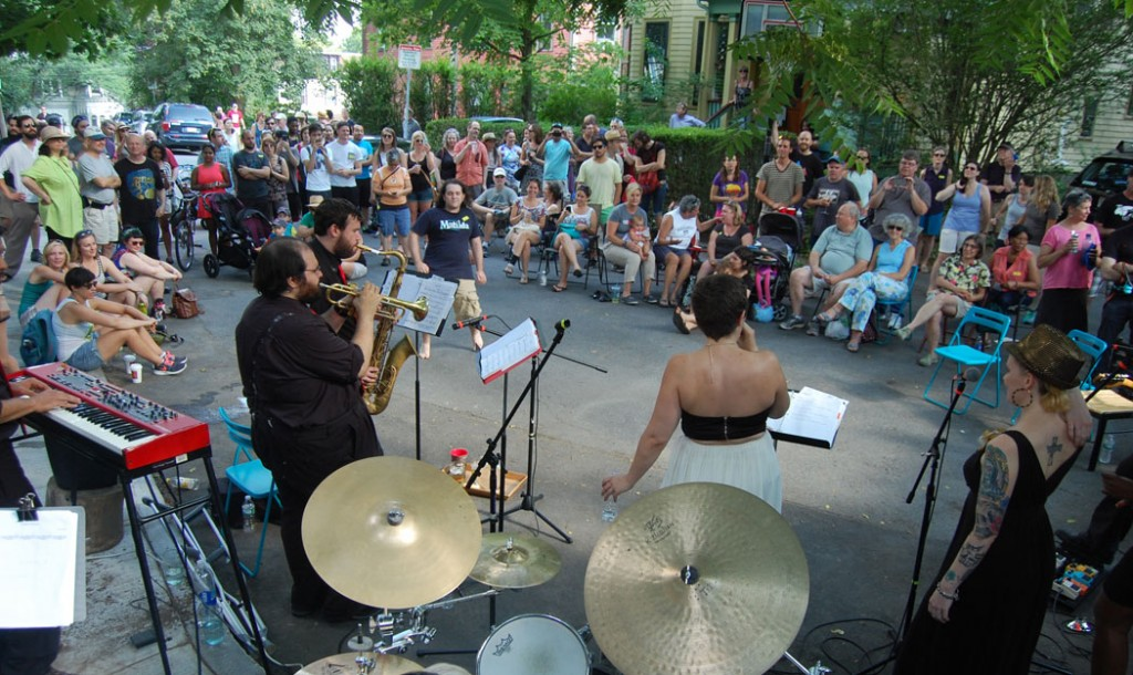 Johnny Blazes and The Pretty Boys play at 17 Segel St. during the 2015 Jamaica Plain Porchfest. (©Greg Cook photo)