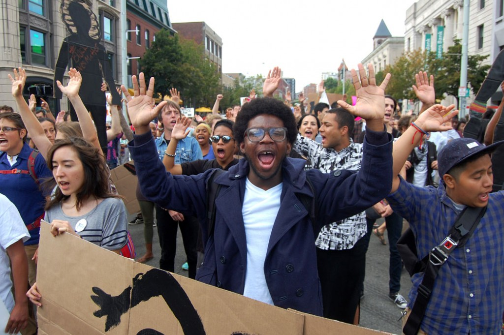 Black Lives Matter-Cambridge protest march in Cambridge, Mass. Aug. 9, 2015. (©Greg Cook photo)