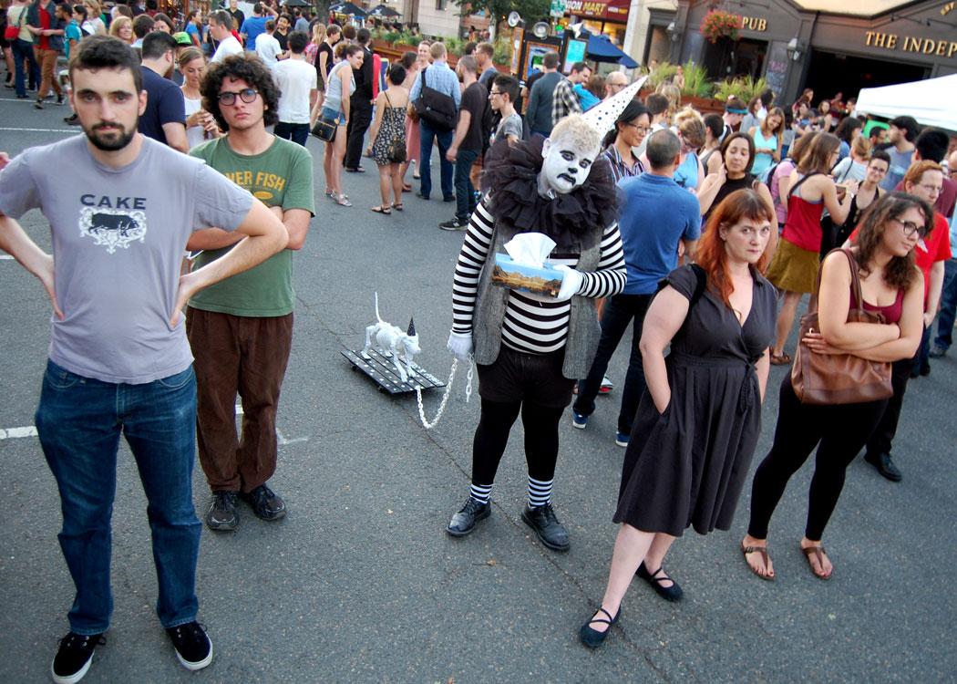 Drabby the Sad Clown (Tom Bush) helps bring the crowd down.