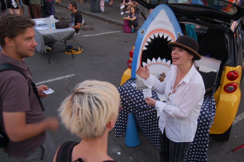 """Be Be and the American Family Happily Institute present the """"Anti-Sadily Shark Juice Medicine Show."""""""