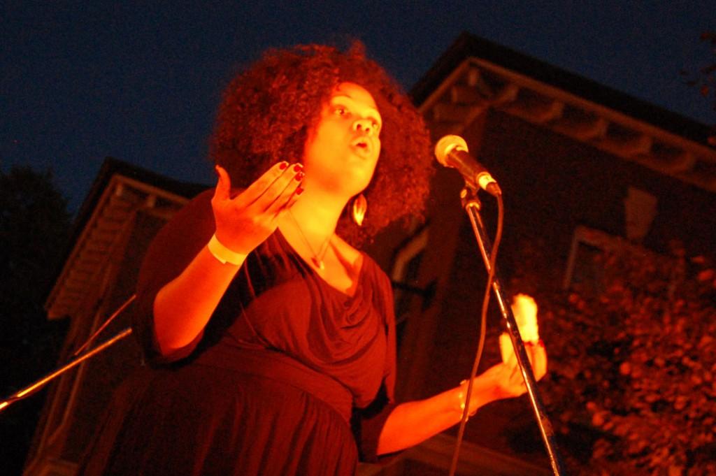 DiDi Delgado of the Society of Urban Poetry recites her poetry.