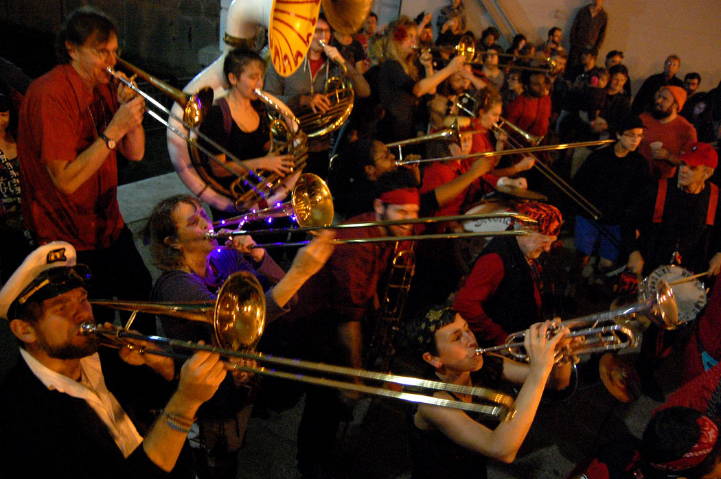 The Second Line Social Aid and Pleasure Society Brass Band plays at Pronk at Fox Point, Providence, Oct. 12, 2015. (Greg Cook)