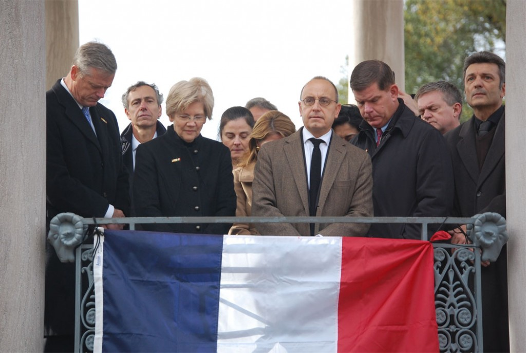 Valéry Freland, consul general of France in Boston, speaks at the rally. He was joined on the bandstand by Massachusetts Gov. Charlie Baker, Mass. Sen. Elizabeth Warren, and Boston Mayor Marty Walsh. (Greg Cook)