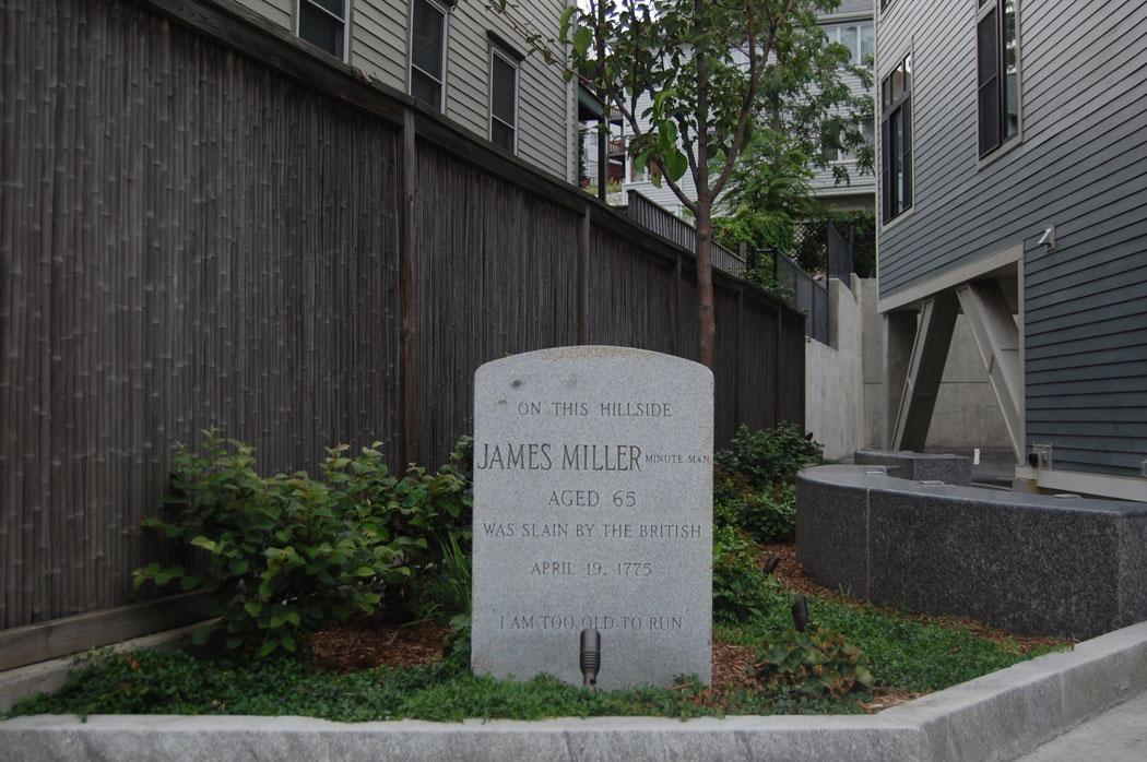 James Miller marker on Washington Street, Somerville. Aug. 13, 2016. (Greg Cook)