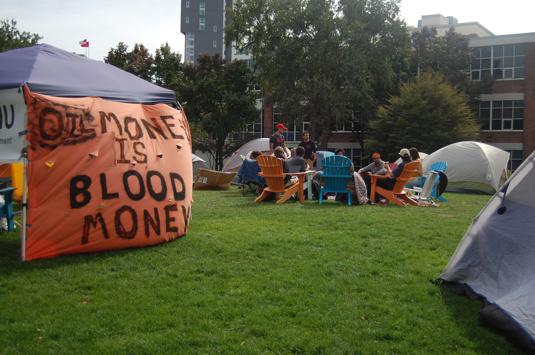"""Oil Money Is Blood Money"" banner at Divest Northeastern Encampment, Oct. 8, 2016. (Greg Cook)"