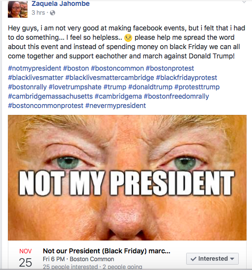 """From the Facebook page of the """"host"""" of Nov. 25 """"Not our President"""" rally. (Greg Cook)"""