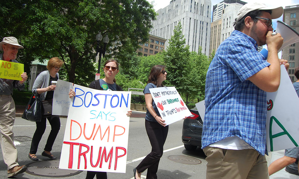 Anti-Donald Trump rally at Boston's Post Office Square on June 13, 2016. (Greg Cook)