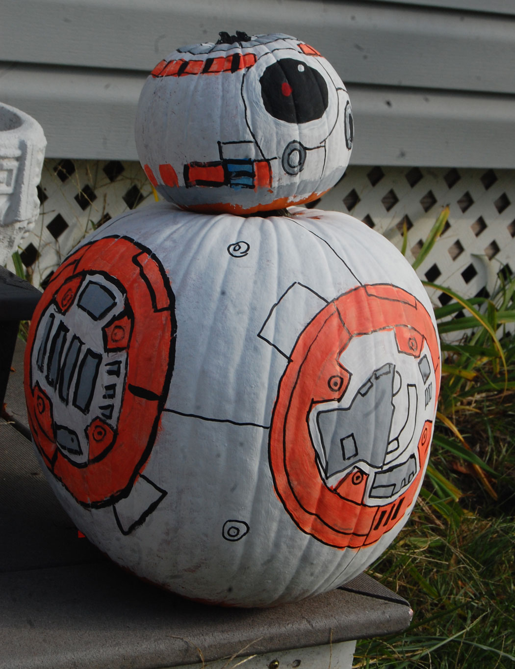 BB-8 pumpkin at 19 Granville St., Malden, Nov. 2, 2016. (Greg Cook)
