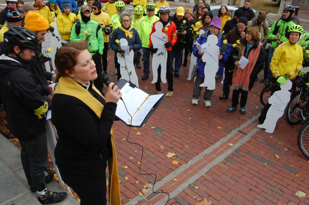 Rev. Laura Everett of the Massachusetts Council of Churches speaks at the World Day of Remembrance vigil and rally at the Massachusetts State House in Boston, Nov. 20, 2016. (Greg Cook)