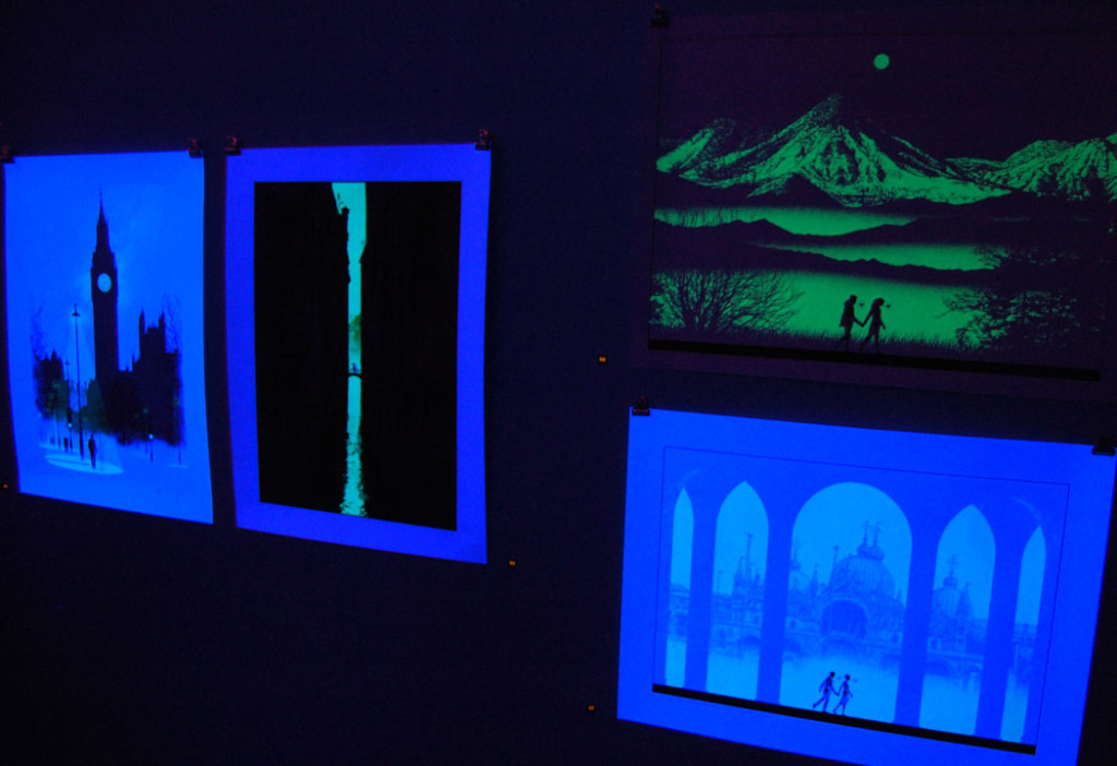 "Dan McCarthy prints in ""Go to the Light"" at Montserrat College of Art, Oct. 29, 2016. (Greg Cook)"