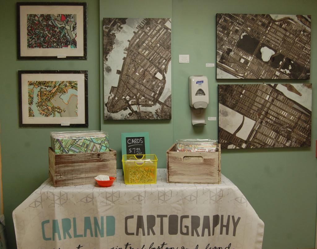 Jennifer Carland's Carland Cartography at Somerville Local Arts Mall. (Greg Cook)