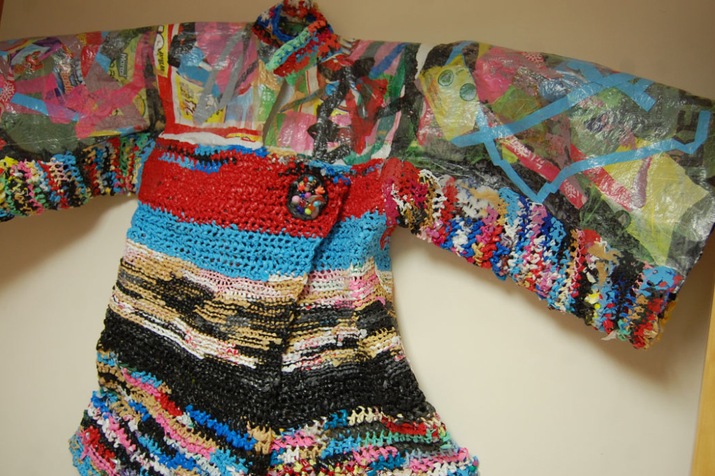 """Laura Wilhelm's """"one-of-a-kind up cycled artwear"""" at Somerville Local Arts Mall. (Greg Cook)"""