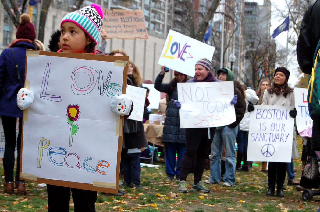 """Love peace."" At ""Love Trumps Hate"" rally at Boston Common, Nov. 20, 2016. (Greg Cook)"