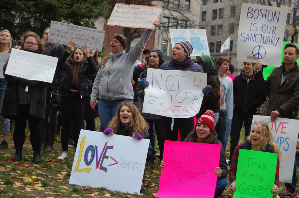"""At """"Love Trumps Hate"""" rally at Boston Common, Nov. 20, 2016. (Greg Cook)"""