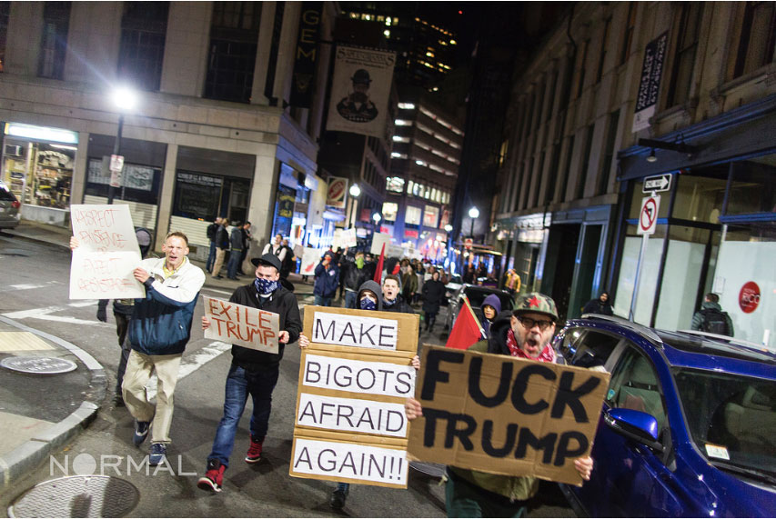 An anti fascist protest and march against President-Elect Donald Trump was held on next to the Park Street MBTA Station, Boston, Mass., Nov. 18, 2016. (Courtesy Leonardo March/ Normal)