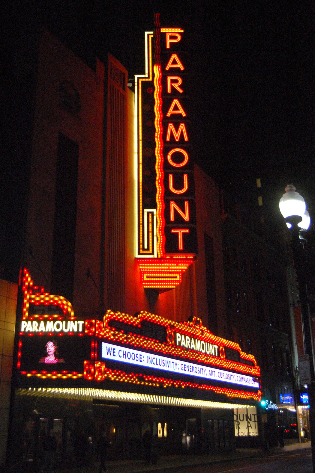 """We choose: Inclusivity, generosity, art, curiosity, compassion,"" reads Boston's Paramount Theater on Nov. 9, 2016, the night after Donald Trump was elected president. (Greg Cook)"