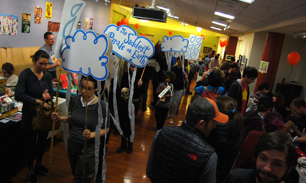 """""""The Saddest Parade on Earth"""" at the Massachusetts Independent Comics Expo (MICE) at Lesley University in Cambridge, Oct. 30, 2016. (Greg Cook)"""