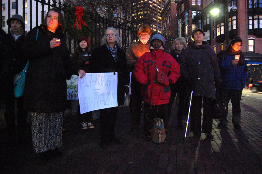 """""""Alt-Right = Neo-Nazi."""" At """"Protect Our White House"""" rally at Massachusetts State House in Boston, Dec. 9, 2016. (Greg Cook)"""