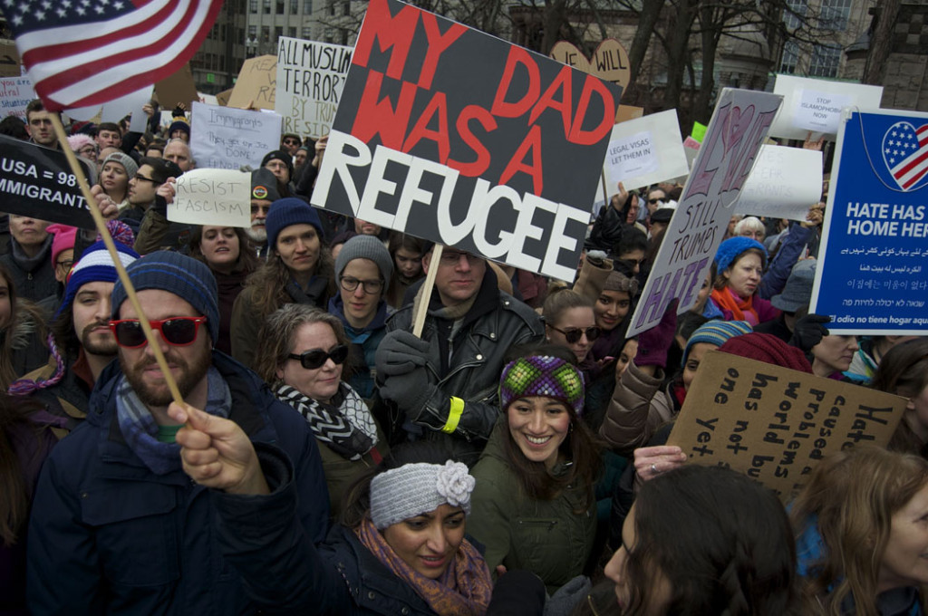 The Boston Protest Against Muslim Ban in Copley Square, Jan. 29, 2017. (Greg Cook)