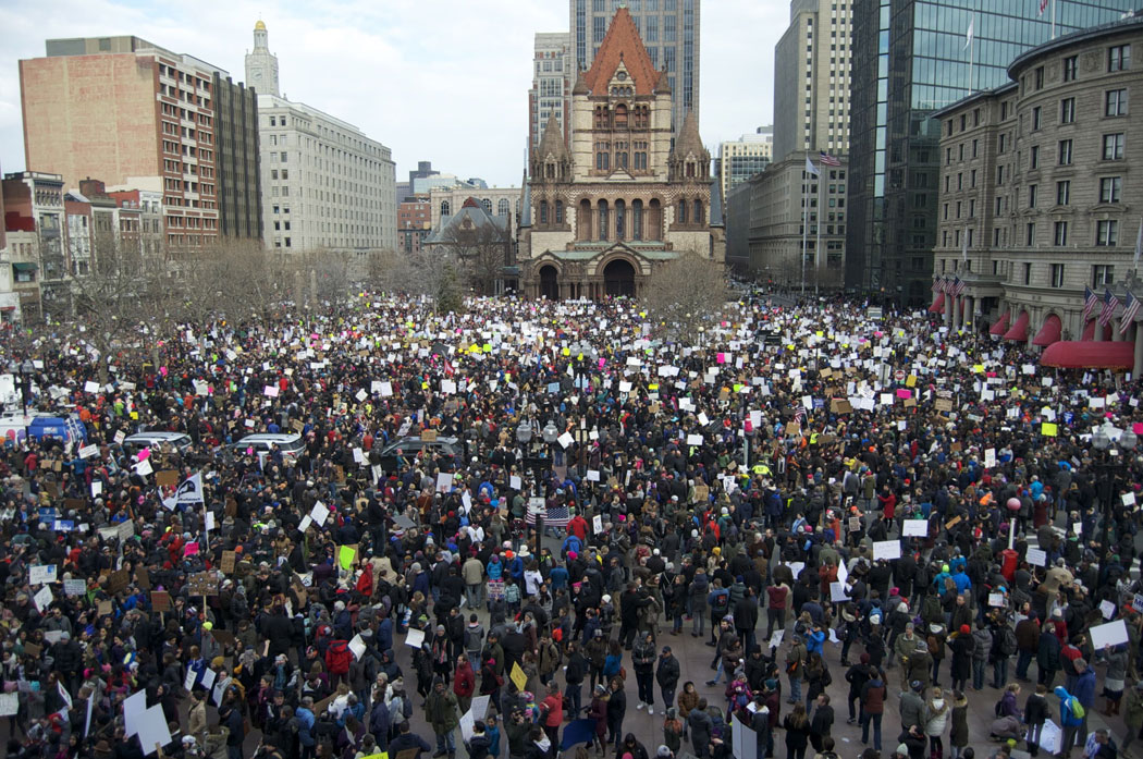 "Tens of thousands fill Copley Square for the ""Boston Protest Against [Donald Trump's] Muslim Ban and Anti-Immigration Orders,"" Jan. 29, 2017. (Greg Cook)"