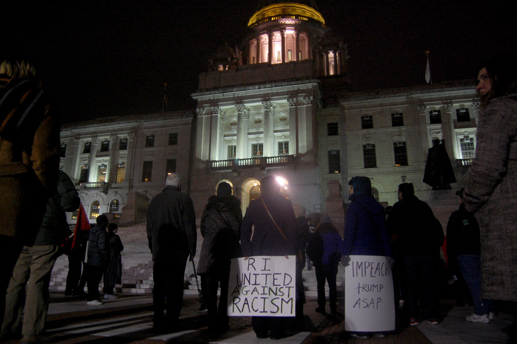 """Inauguration Day Rally Against Trump and the Right-Wing Agenda!"" Organized by Socialist Alternative RI at the Rhode Island State House in Providence, on the evening of Donald Trump's inauguration as president of the United States, Jan. 20, 2017. (Greg Cook)"