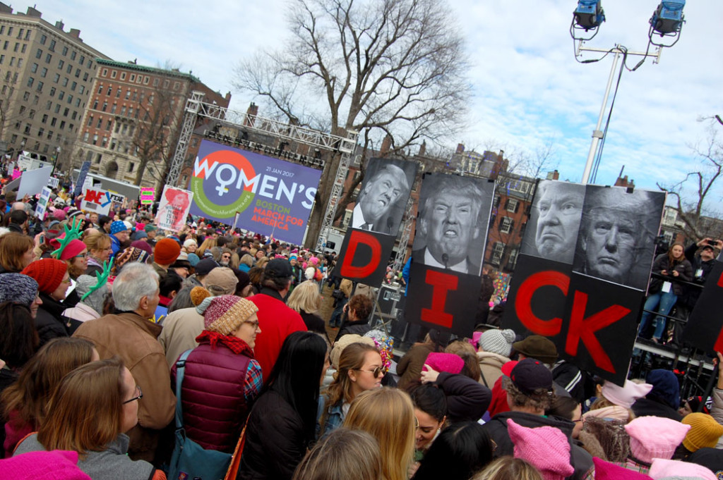 "The ""Boston Women's March"" rally at Boston Common, Jan. 21, 2017. (Greg Cook)"