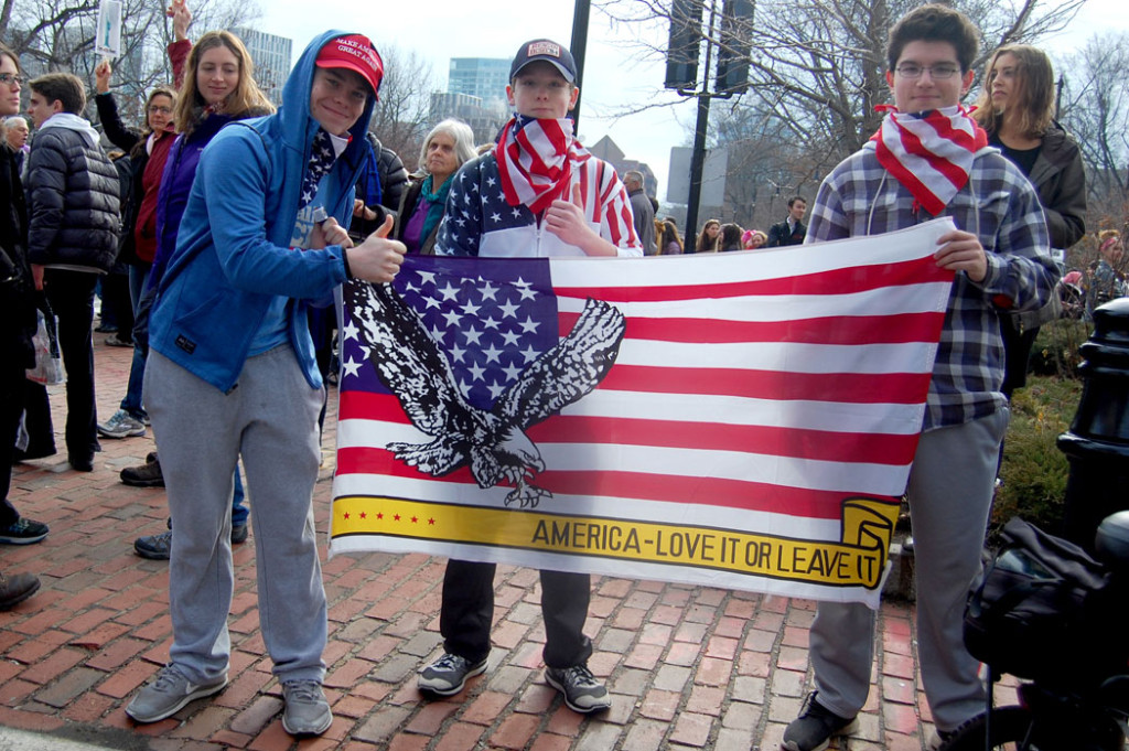 "Trump supporters at the ""Boston Women's March,"" Jan. 21, 2017. (Greg Cook)"