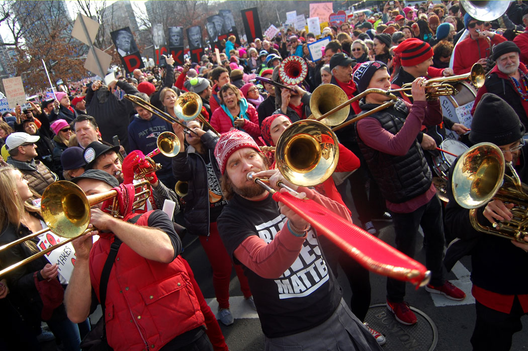 "The Second Line Social Aid & Pleasure Society Brass Band leads the ""Boston Women's March,"" Jan. 21, 2017. (Greg Cook)"