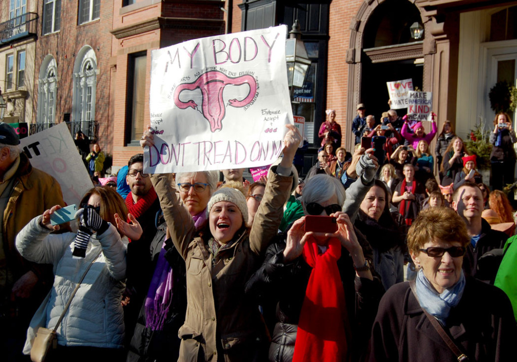 "The crowd on Beacon Street for the ""Boston Women's March,"" Jan. 21, 2017. (Greg Cook)"