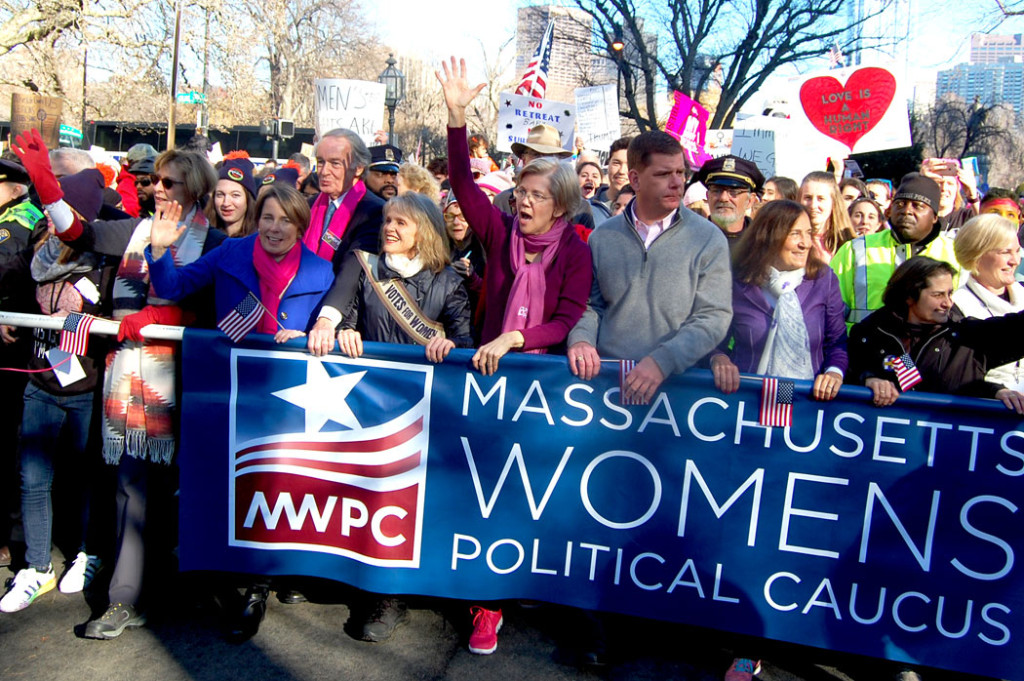 "Politicians including Mass. Attorney General Maura Healey, Senator Ed Markey, Senator Elizabeth Warren and Boston Mayor Marty Walsh in the ""Boston Women's March,"" Jan. 21, 2017. (Greg Cook)"