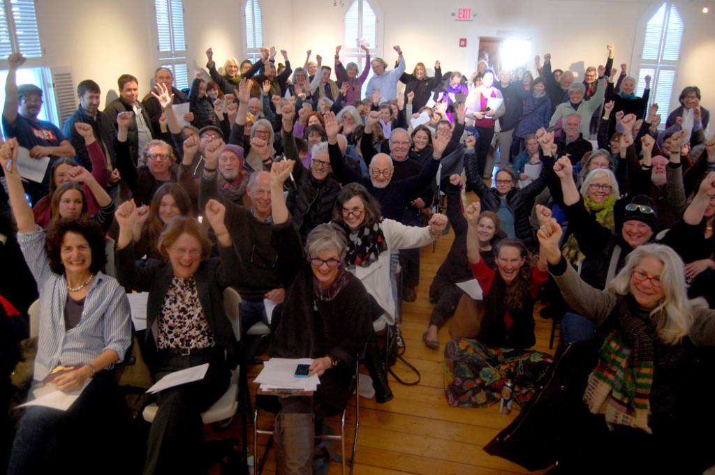"""Writers Resist"" event at the Rocky Neck Cultural Center, Gloucester, Jan. 15, 2017. (Greg Cook)"