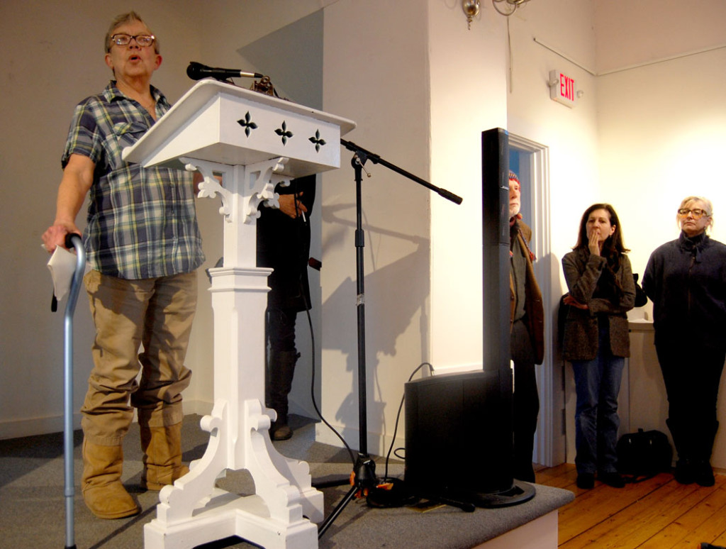"Wendy Fitting speaks at the ""Writers Resist"" event at the Rocky Neck Cultural Center, Gloucester, Jan. 15, 2017. (Greg Cook)"
