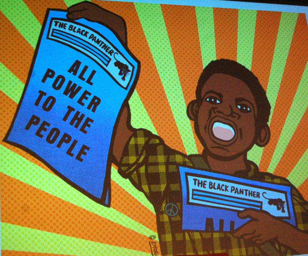 Graphic by Black Panther Minister of Culture Emory Douglas that he presented during a talk at Rhode Island School of Design in Providence, Jan. 20, 2017. (Greg Cook)