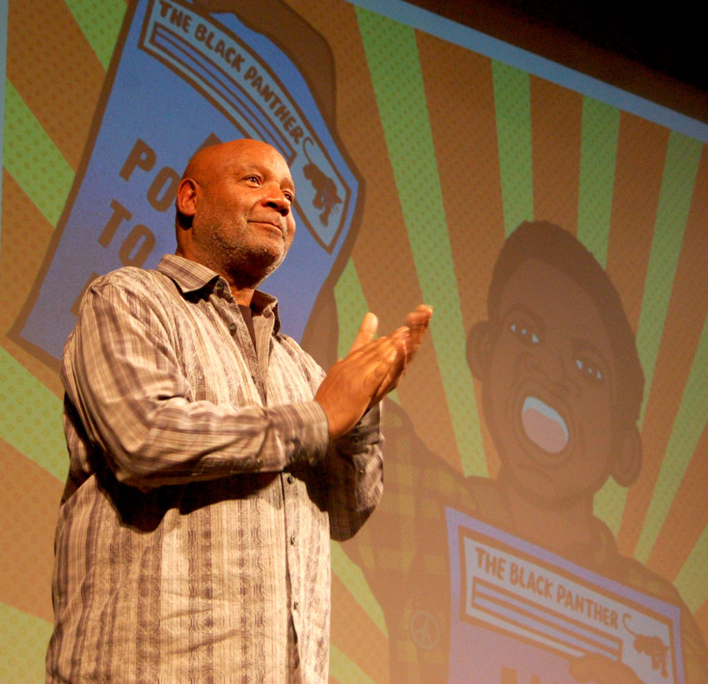 Black Panther Minister of Culture Emory Douglas speaks at Rhode Island School of Design in Providence, Jan. 20, 2017. (Greg Cook)