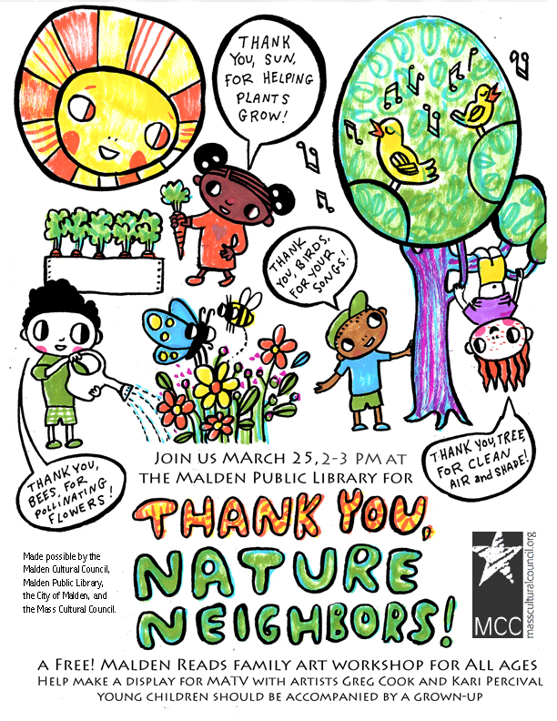 """Thank You, Nature Neighbors"" family art workshop. (Poster by Kari Percival)"