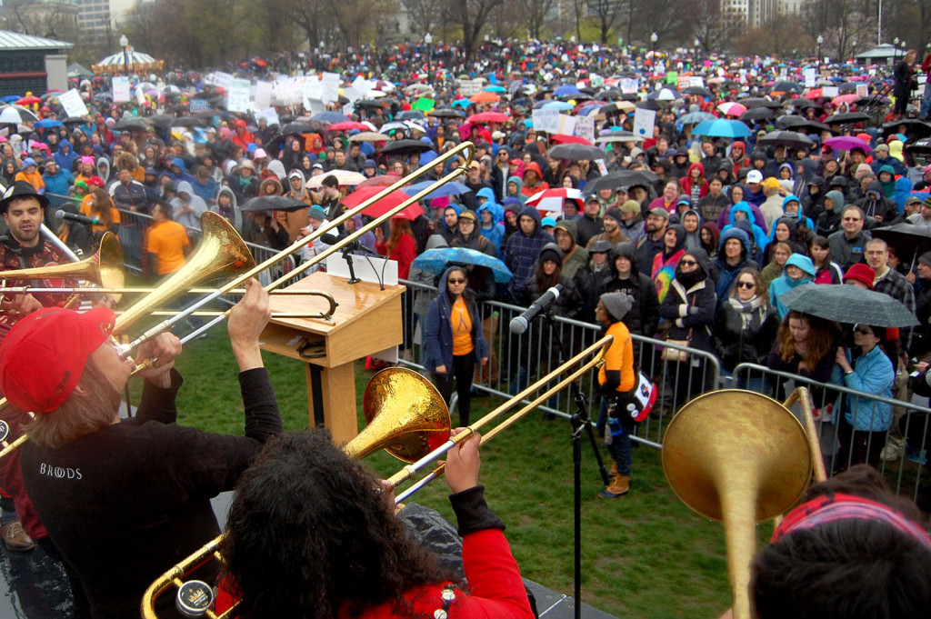 "The Second Line Social Aid & Pleasure Society Brass Band performs at the ""March for Science"" at Boston Common, April 22, 2017. (Greg Cook)"