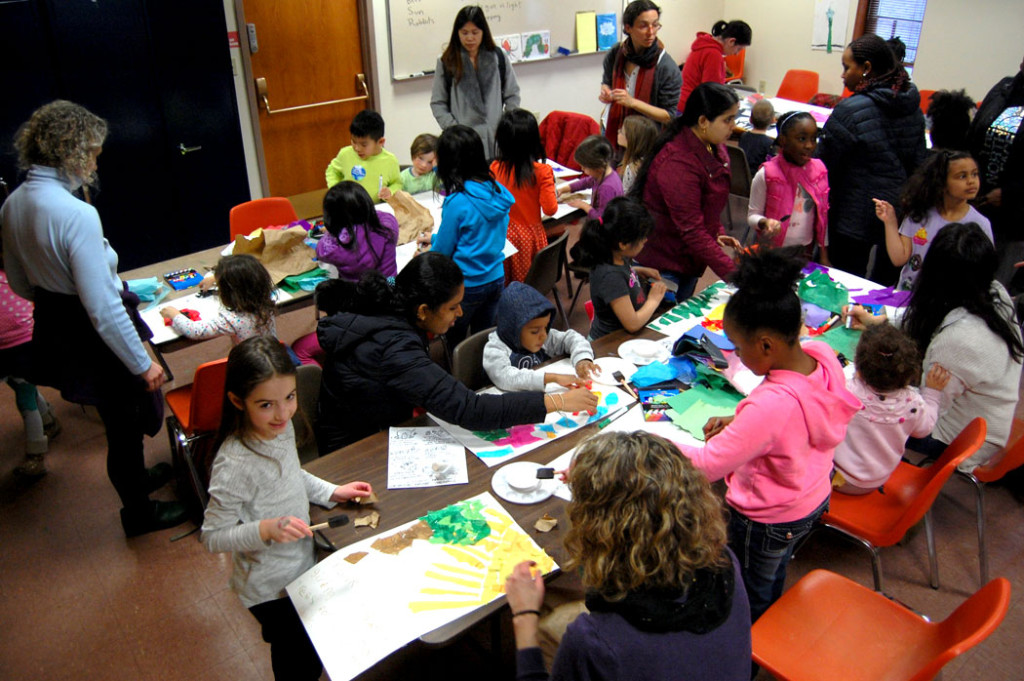 """Thank You, Nature Neighbors"" craft workshop by Wonderland Spectacle Co. at the Malden Public Library, March 25, 2017. (Greg Cook)"