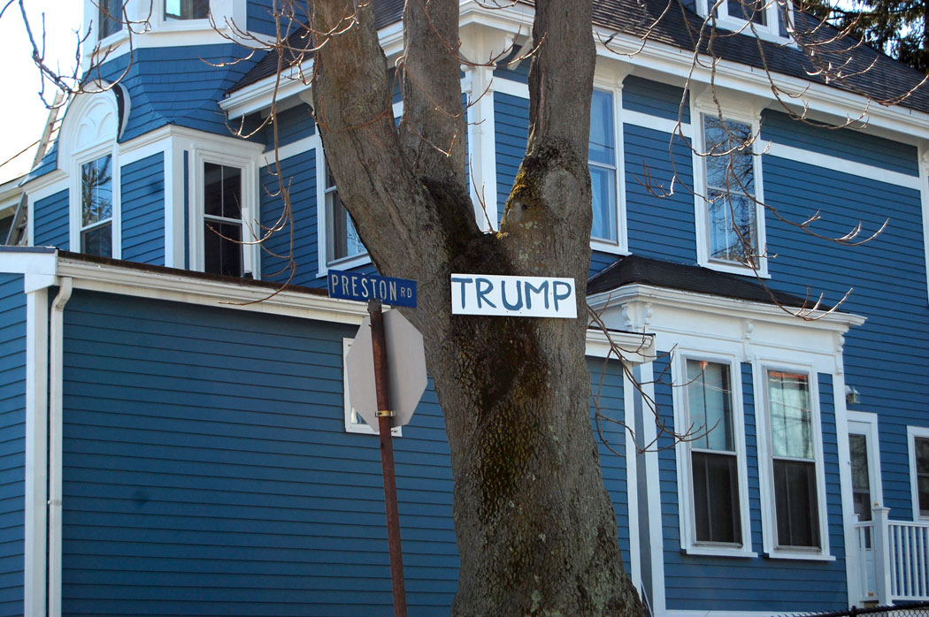 Trump sign at house on Somerville's Preston Road, April 2, 2017. (Kari Percival)