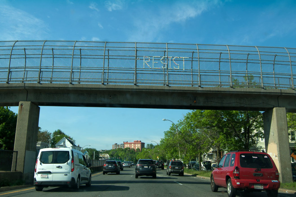 """Resist."" Overpass of McGrath Highway, Somerville, May 18, 2017. (Greg Cook)"