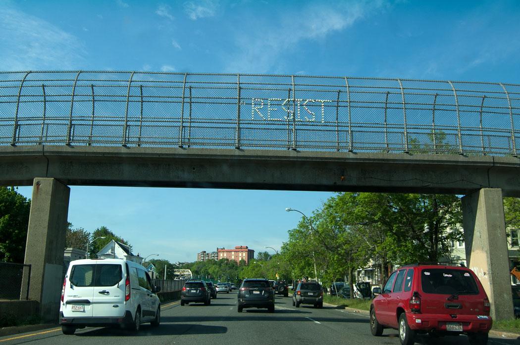 """""""Resist."""" Overpass of McGrath Highway, Somerville, May 18, 2017. (Greg Cook)"""