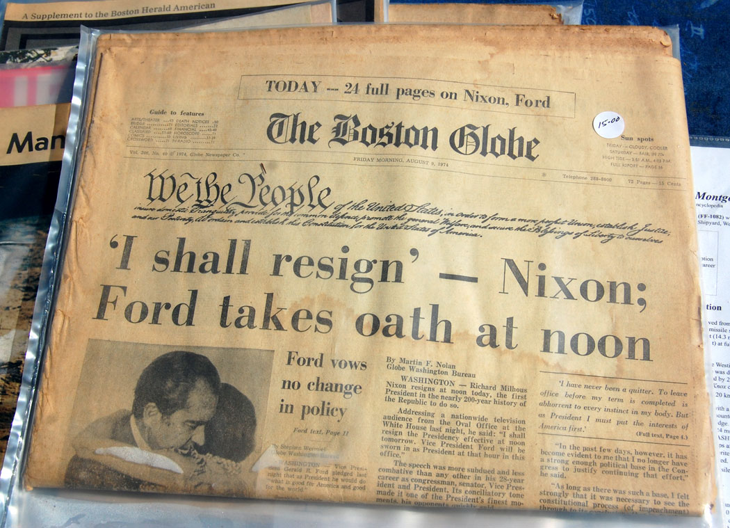 Boston Globe report on Nixon's resignation, Aug. 9, 1074. (Greg Cook)