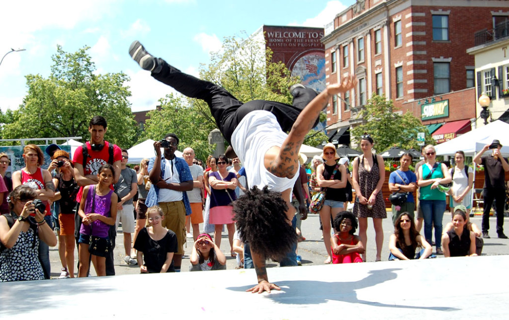 Lakaï Dance Theatre, led by choreographer McKersin Previlus, performs a dance exploring masculinity. (Greg Cook)