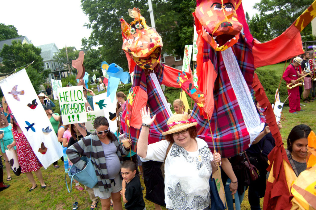 Giant fox puppets by Sara Peattie in the Fox Festival Parade in Arlington, June 17, 2017. (Greg Cook)