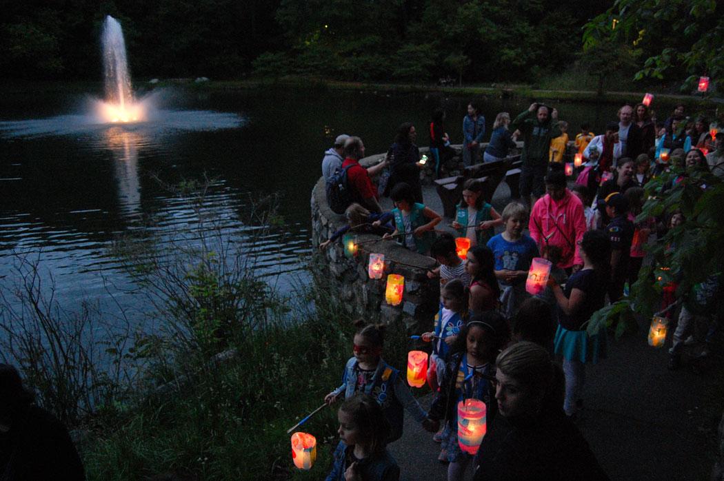 Lantern walk around Malden's Fellsmere Pond, June 3, 2017. (Greg Cook)