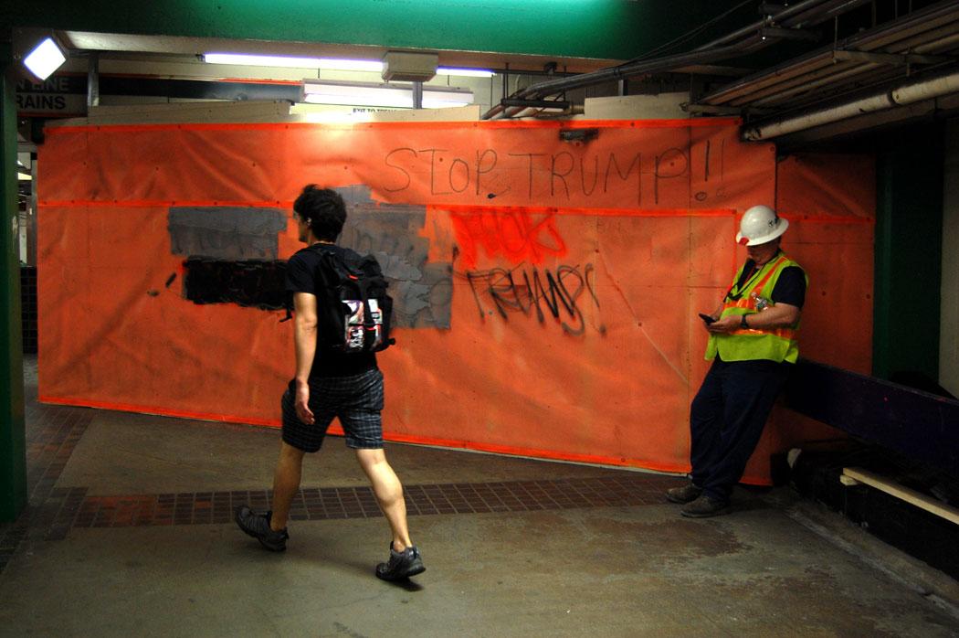 """""""Stop Trump!"""" graffiti at Downtown Crossing MBTA station, June 13, 2017. (Greg Cook)"""