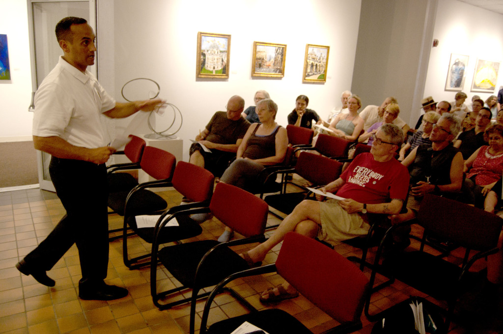 Somerville Mayor Joe Curtatone speaks during a contentious meeting about the future of the city's ArtFarm at Brickbottom, July 20, 2017. (Greg Cook)